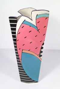 """Dorothy Hafner, """"Pinstripes with Watermelon Slice"""" 1986, porcelain, engobe, glaze, 15.5 x 6.5 x 6.5""""."""