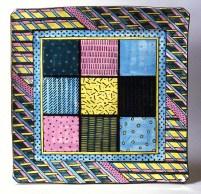 "Dorothy Hafner, ""Kyoto Jumbo Chartreuse"" 1979, porcelain, engobe, glaze, 20 x 20 x 2""."