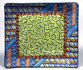 "Dorothy Hafner, ""Through the Glass"" 1979, porcelain, engobe, glaze, 13 x 14 x 2""."