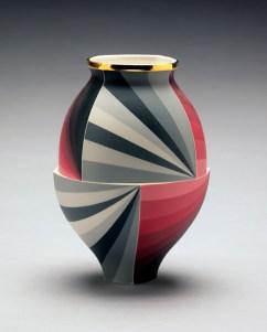"Peter Pincus, ""Red Jar"" 2018, colored porcelain, 9 x 6""."