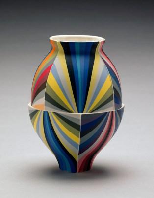 "Peter Pincus, ""All Colors Jar"" 2018, colored porcelain, 16 x 7""."