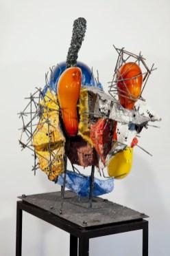 """Raymon Elozua, """"R&D III RE-10-1b"""" 2014, ceramic, glaze, steel, glass, 44 x 31 x 42""""."""