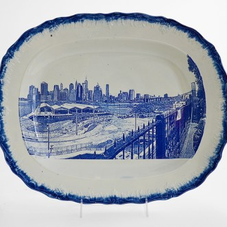 """Paul Scott, """"Cumbrian Blue(s), New American Scenery, Chicago, (W. 18th. St.)"""", 2019, shell-edge, pearlware platter c.1820 purchased from Dennis & Dad's (2016), 13.5 x 17.25 x 1.5"""", 34 x 44 x 4cm."""