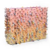 "Lauren Mabry, ""Loopy Block (Pink & Yellow)"", 2019, red earthenware, slip, glaze, 16.5 x 22 x 8"""
