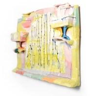 "Lauren Mabry, ""Molten Veil Painting (Light Lime & Pink), 2019, red earthenware, slip, glaze, 18 x 25 x 3"""