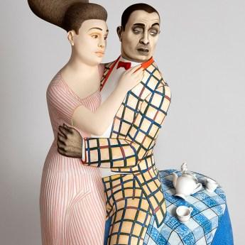 """Sergei Isupov, """"Coffee and Milk"""", Detail, 2020, porcelain, slip, glaze, 59.5 x 26 x 16""""."""
