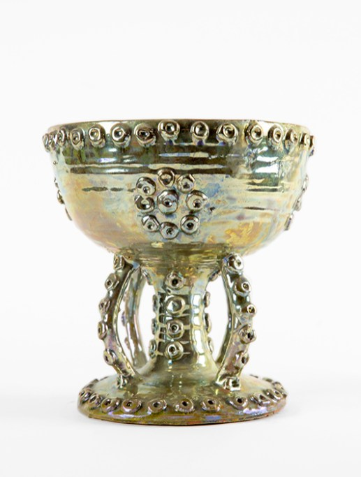 "Beatrice Wood, ""Chalice"", 1990, raku-fired glazed earthenware, 8 x 7.5 x 7.5"""