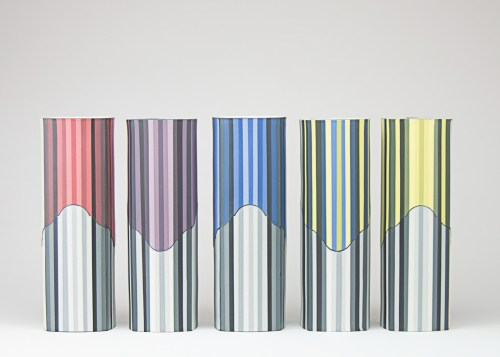 """Peter Pincus, """"The Point of Confusion II (Columns Set of Five)"""", 2020, colored porcelain, """"9.625 x 19 x 3.5"""" (total), front"""