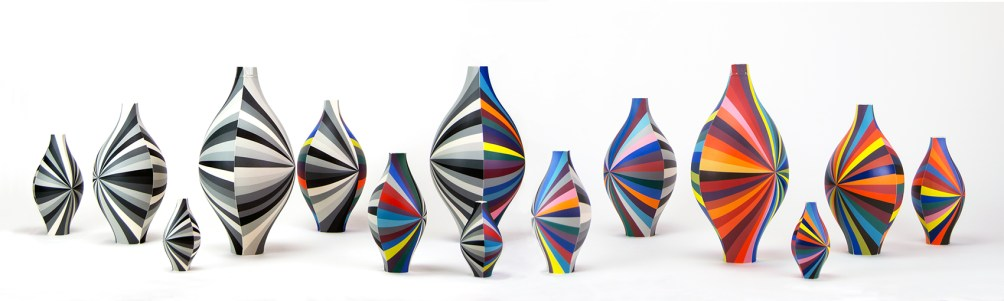 "Peter Pincus, ""Group of Vessels"", 2020, colored porcelain, group: ~12 x 80 x 24"", biggest: 12 x 8 x 8"", large: 11 x 6 x 6"", medium: 8 x 4 x 4"", small: 5 x 2 x 2""."