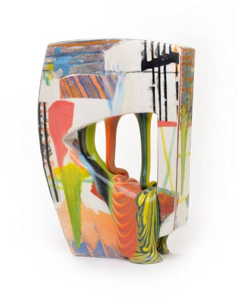 "Lauren Mabry, ""Glazescape 20.03"", 2020, earthenware, slip, glaze, 12.5 x 9 x 3.5"", view 3."