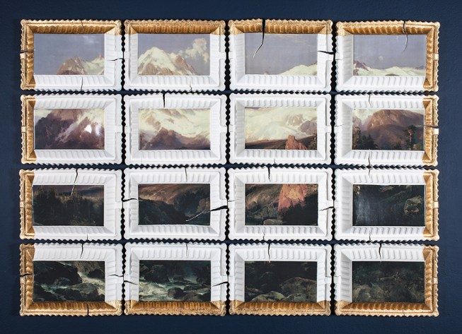"Evan Hauser, ""Preservation & Use #2"" (Teton Range by Thomas Moran), 2017, porcelain, gold leaf, 44 x 60 x 2.5""."