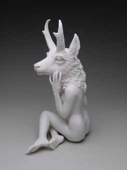 "Crystal Morey, ""New Symbiosis: Pronghorn"" 2017, porcelain, 10.5 x 6 x 4.5""."