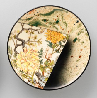 "Stephen Bowers, ""Flowers Fragment"" 2018, white earthenware, underglaze colors, glaze, 8.75 x 8.75 x 1.6""."