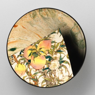 "Stephen Bowers, ""Peaches Fragment"" 2018, white earthenware, underglaze colors, glaze, 8 x 8 x 1.5""."