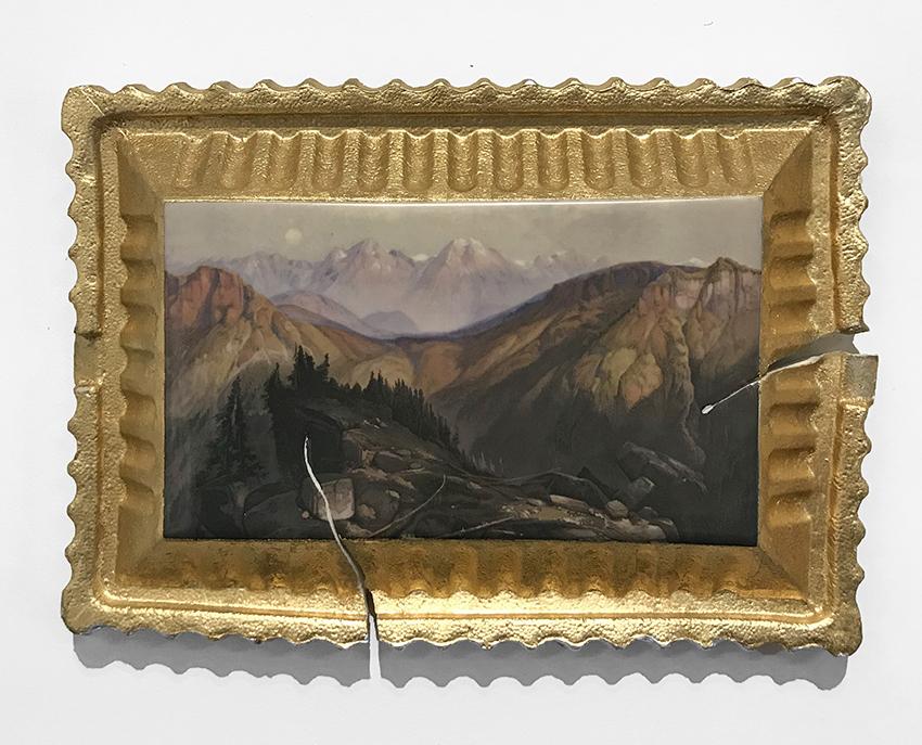 "Evan Hauser, 2017, Preservation & Use (Yellowstone Range, 1874, Thomas Moran) porcelain and gold leaf, 15 x 11 x 2.5""."