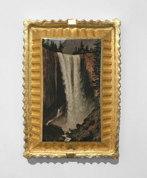 "Evan Hauser, 2017, Preservation & Use (Vernal Falls, 1863, Albert Bierstadt) porcelain and gold leaf, 15 x 11 x 2.5""."