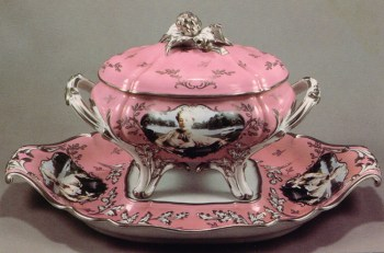 "Cindy Sherman, ""Madame de Pompadour (nee Poisson)"" Tureen, 1990, porcelain, 14.5 x 22 x 11.75""."