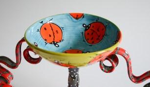 "Phillip Maberry, ""Lady Bug Chalice"" , porcelain, 14.5 x 20.5""."