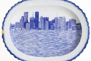 "Paul Scott, ""Scott's Cumbrian Blue(s), New American Scenery, Houston No: 1"" 2017, in-glaze decal collage on shell-edge, pearlware platter c.1850, gold leaf, 17.5 x 13.5 x 1.5""."