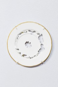 "Elizabeth Alexander, ""Untitled Plate Study"" 2015, hand cut found porcelain 6.5 x 6.5 x 5""."