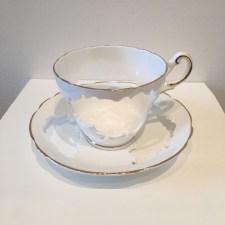 "Elizabeth Alexander, ""Regency"" 2016, hand cut found porcelain 5.5 x 5.5 x 3""."