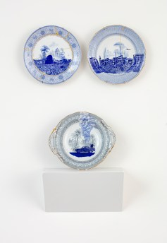 """Paul Scott, """"Scott's Cumbrian Blue(s), The Syria Series No.9"""", in-glaze decal collage and gold luster on partially erased broken plate/bowl c 1800's, 12 x 10.5 x 2.75"""