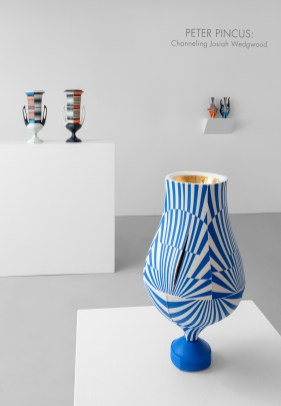 "Peter Pincus: Channeling Wedgwood at Ferrin Contemporary, North Adams, MA, 2018. (front right) 'Relieved', 2018, 17.25 x 9 x 9"", colored porcelain. (Back Left) 'Wedgwood Krater Pair', 2018, 17.25 x 19 x 7"" (each), (Back) 'Teapots', 2018, 10.125 x 5 x 5"" (each), colored porcelain."