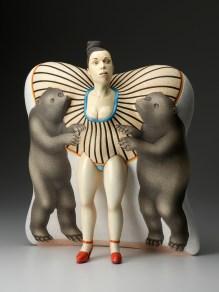 "Sergei Isupov, Dangerous Friendship, 2012, porcelain slip, glaze, 18.5 x 16.5 x 8""."