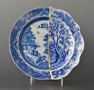"Paul Scott, ""Cumbrian Blue(s), The Garden Series, Bridgeless/Bridge"" 2019, collage with kintsugi, 'Chinoisserie Bridgeless' by Minton, with 'St Alban's Abbey' by Henshall, (early 19th century transferwares), 10"" diameter."