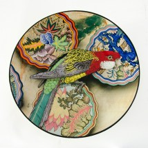 "Stephen Bowers,""Eastern Rosella & Botanical (18th c French Toile' fabric print patterns)"" 2019, white earthenware, under-glaze colors, clear glaze, 13.5 x 13.5 x 2.75""."