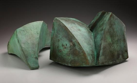 """Malcolm Wright """"Diptych"""", 2009, bronze, 16 x 14 x 12""""."""