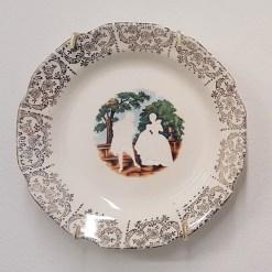 """Hollie Lyko, """"Ladies & Gentleman no. 36"""", 2018-19, dremel-erased plate, circa 1950, 6 x 6 x .75""""."""