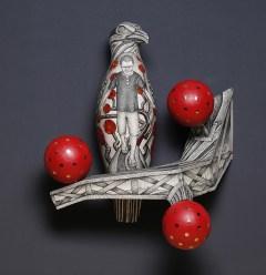 "Jason Walker, ""The Instrumentarian Tree"" 2019, porcelain, underglaze and oil paint, 16 x 14 x 7""."