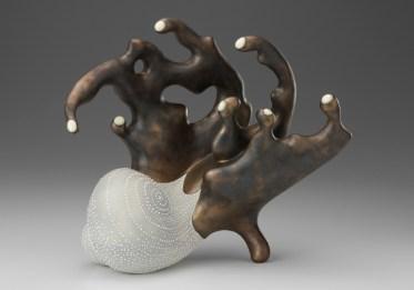 "Kadri Pärnamets, ""Unravel"" 2008, porcelain, stain, 11.5 x 12 x 6.5""."