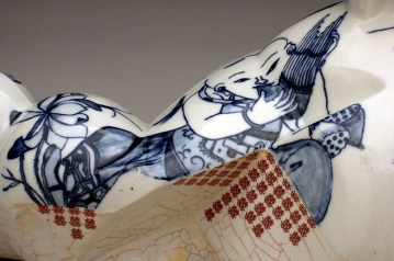 """Sin Ying Ho, """"Wedlock"""" (detail) 2014 Porcelain, high fire reduction, hand painted cobalt pigment, computer decal transfer, terra sigillata, 16 x 8 x 8""""."""