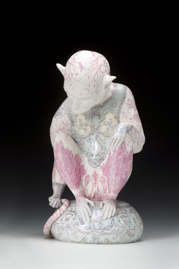 """Robin Best, """"The Knight of the Lions"""" 2016, porcelain, on-glaze xin cai , 14.1 x 7.9 x 10.25"""" ."""