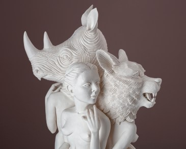 "Crystal Morey, ""Three Graces"" 2019, hand-sculpted porcelain, 19 x 10 x 8""."