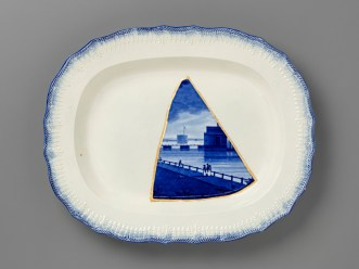 """Paul Scott, """"Scott's Cumbrian Blue(s), New American Scenery, Castle Garden Battery, New York, after Enoch Wood (triptych)"""" 2019, Collage, Fragmented Enoch Wood transferware (c.1840) and gold leaf, set in Leeds Pottery shell-edged pearlware platter (c.1840), with kintsugi, 12.5 x 16 x 1.75""""."""