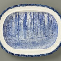"""Paul Scott, """"Scott's Cumbrian Blue(s), New American Scenery, Near the Oxbow (after Thomas Cole)"""", 2019, in-glaze screen print (decal), on shell-edged pearlware platter c.1850, 13.5 x 16.75 x 2""""."""