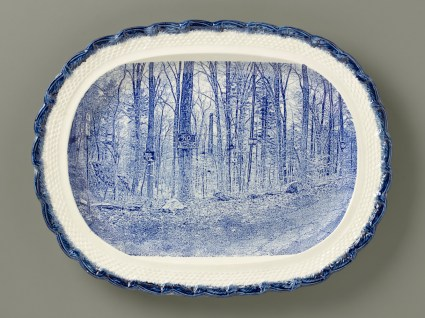 "Paul Scott, ""Scott's Cumbrian Blue(s), New American Scenery, Near the Oxbow (after Thomas Cole)"", 2019, in-glaze screen print (decal), on shell-edged pearlware platter c.1850, 13.5 x 16.75 x 2""."