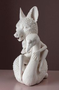 """Crystal Morey, """"Leda and the Swan"""" 2019, hand sculpted porcelain, 15 x 8 x 12""""."""