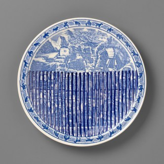 "Paul Scott, ""Scott's Cumbrian Blue(s), New American Scenery, Across the Borderline (Arizona) (Trumpian Campaigne) No:1, (one of set of four plates)"" 2019, in-glaze decal collage on a set of 4 Vernon Kilns Souvenir Plates, California, Arizona, New Mexico, Texas, 10.5 x 10.5 x 1""."