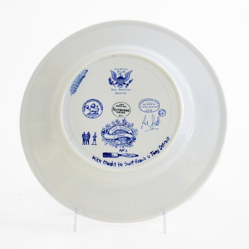 "Paul Scott, ""Scott's Cumbrian Blue(s), New American Scenery, Detroit Ghost Gardens #2"" back, 2019, in-glaze screen print (decal) on salvaged Syracuse China with pearlware glaze, 12 x 12 x 1.25""."