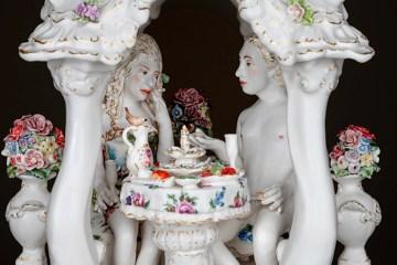 """Chris Antemann, 'A Little Feast of Folly' 2019, porcelain, 23 x 12 x 12""""."""