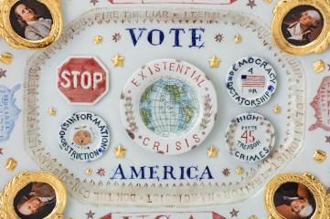 "Mara Superior, ""2020/USA/Vote/America"", 2019, high-fired porcelain, ceramic oxides, underglaze, glaze, ceramic decals, gold leaf, 13 x 16.25 x 2"", detail."