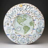 "Mara Superior, ""Only One Planet Earth"", 2019, high-fired porcelain, ceramic oxides, underglaze, glaze, gold leaf, 16 x 16 x 1.5''."