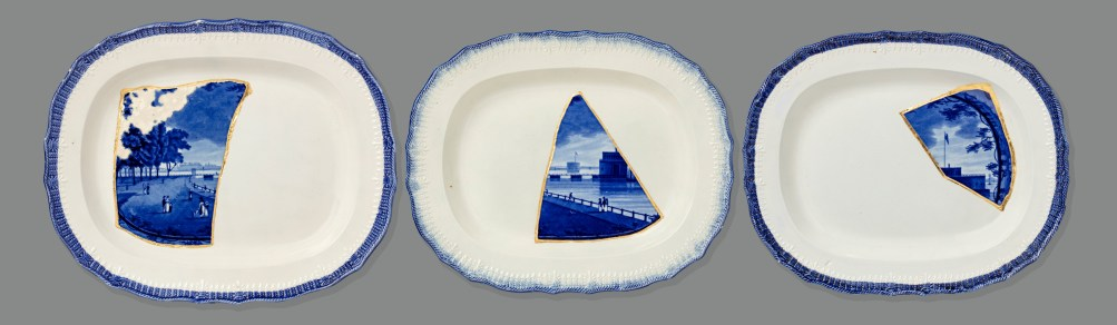 Scott's Cumbrian Blue(s), New York Battery Park Tryptych. Fragmented Enoch Wood & Sons New York Battery Park platter c.1825, collaged (with kintsugi) into three Leeds Pottery shell edged pearlware platters c. 1840.Paul Scott 2016 & 2019.