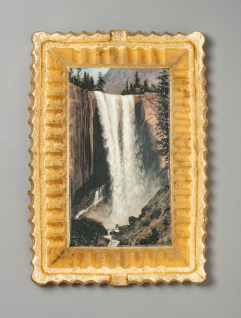"Evan Hauser, ""Preservation & Use (Vernal Falls, 1863, Albert Bierstadt)"", 2017, porcelain, digital ceramic print, gold leaf, 15 x 11 x 2.5""."