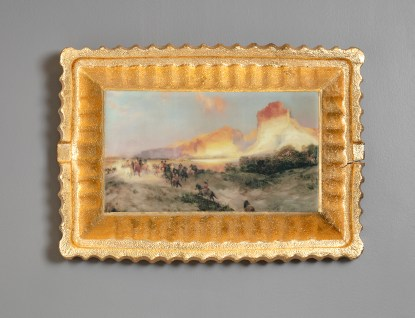 "Evan Hauser, ""Preservation & Use (Green River Cliffs, Wyoming, Thomas Moran, 1881)"", 2018, porcelain, digital ceramic print, gold leaf, 10.5 x 15 x 2.5""."