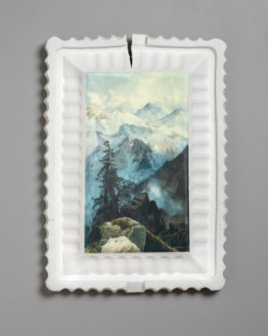 "Evan Hauser, ""Preservation & Use (Summit of the Sierras, Thomas Moran, 1872-1875)"", 2019, porcelain, digital ceramic print, gold leaf, 15 x 11 x 2.5""."